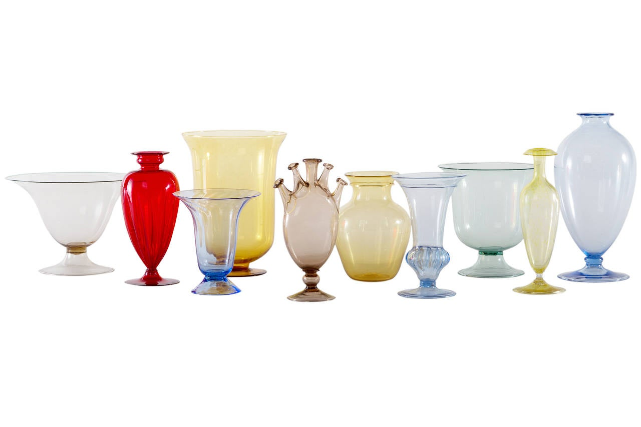 Beautiful collection of early 20th century Italian glass vases in different forms and colors.
