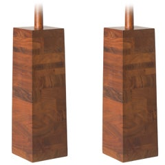 Pair of Large Martz Solid Stacked Walnut Table Lamps for Marshall Studios