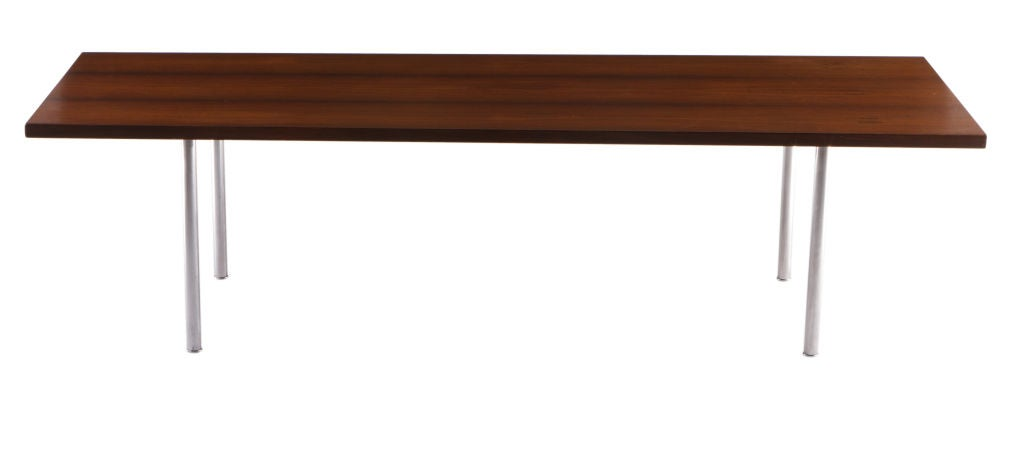 Rosewood and steel legged coffee table designed by Hans Wegner and manufactured by Andeas Tuck.