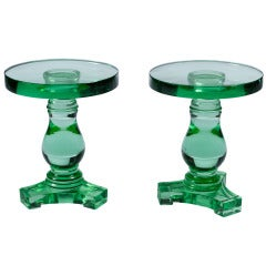 Pair of Solid Glass Pedestals or Side Tables