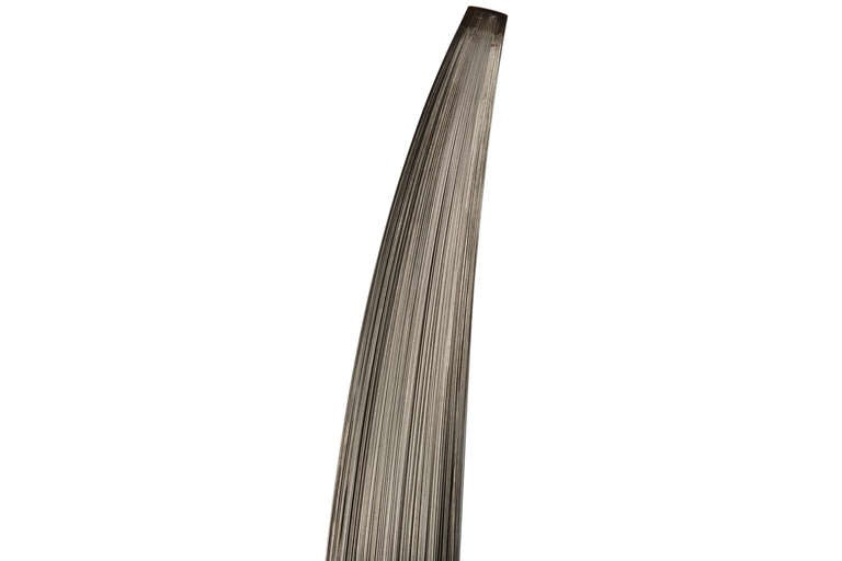 """Large """"Bundle Formed"""" sculpture by Harry Bertoia. Kinetic sculpture of steel wires that sway gently to the touch. Measure 57 inches tall on a square 9x9 inch stainless steel base."""