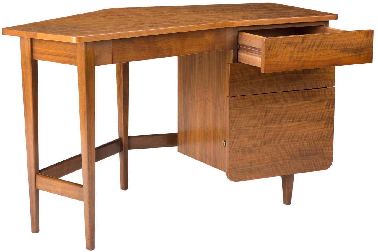 Wood Desk by Bertha Schaefer for Singer and Sons For Sale