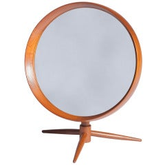 Danish Teak Table Mirror By Pedersen & Hansen