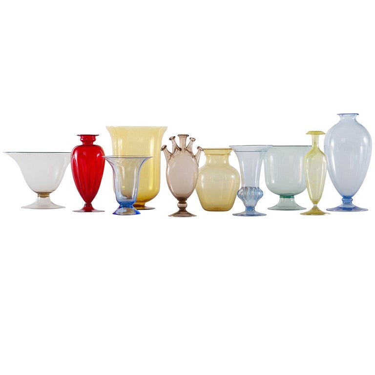 Collection of Ten Early Italian Glass Vases, Venini, 1900-1920 For Sale