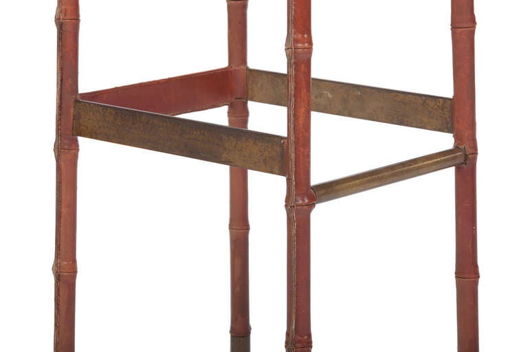 Set of Three Jacques Adnet Leather Bar Stools For Sale 3