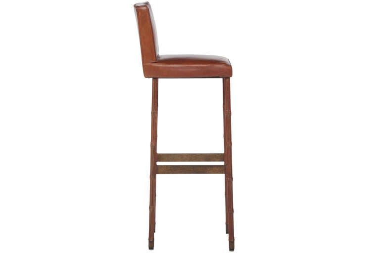 French Set of Three Jacques Adnet Leather Bar Stools For Sale