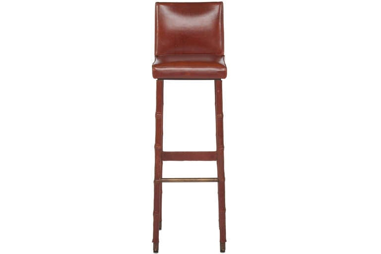 Set of Three Jacques Adnet Leather Bar Stools In Good Condition For Sale In Pawtucket, RI
