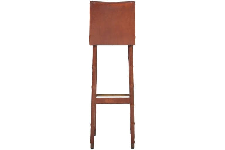 Mid-20th Century Set of Three Jacques Adnet Leather Bar Stools For Sale