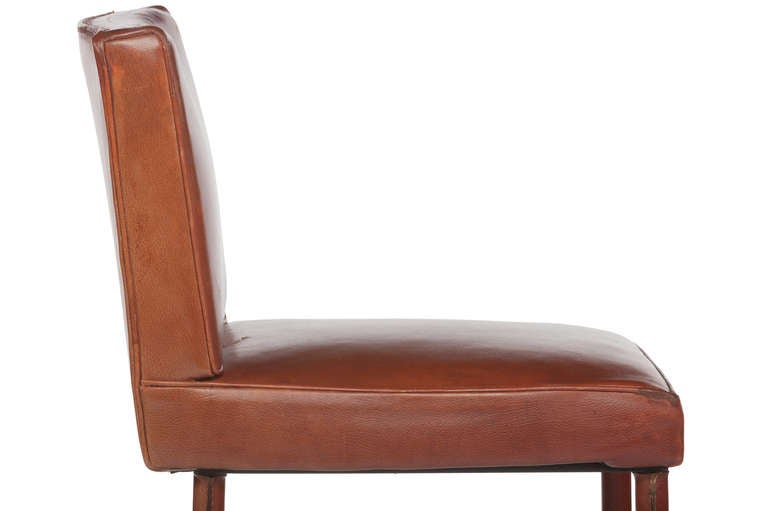 Set of Three Jacques Adnet Leather Bar Stools For Sale 2