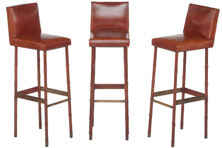 Mid-Century Modern Set of Three Jacques Adnet Leather Bar Stools For Sale