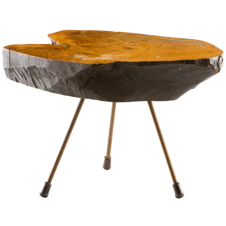 Mid Century Modern Tree Slab Coffee Table For Sale At 1stdibs: Walnut Table By Carl Aubock At 1stdibs