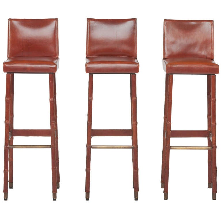 Set of Three Jacques Adnet Leather Bar Stools For Sale