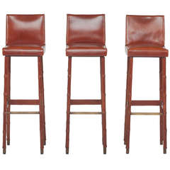 Set of Three Jacques Adnet Leather Bar Stools
