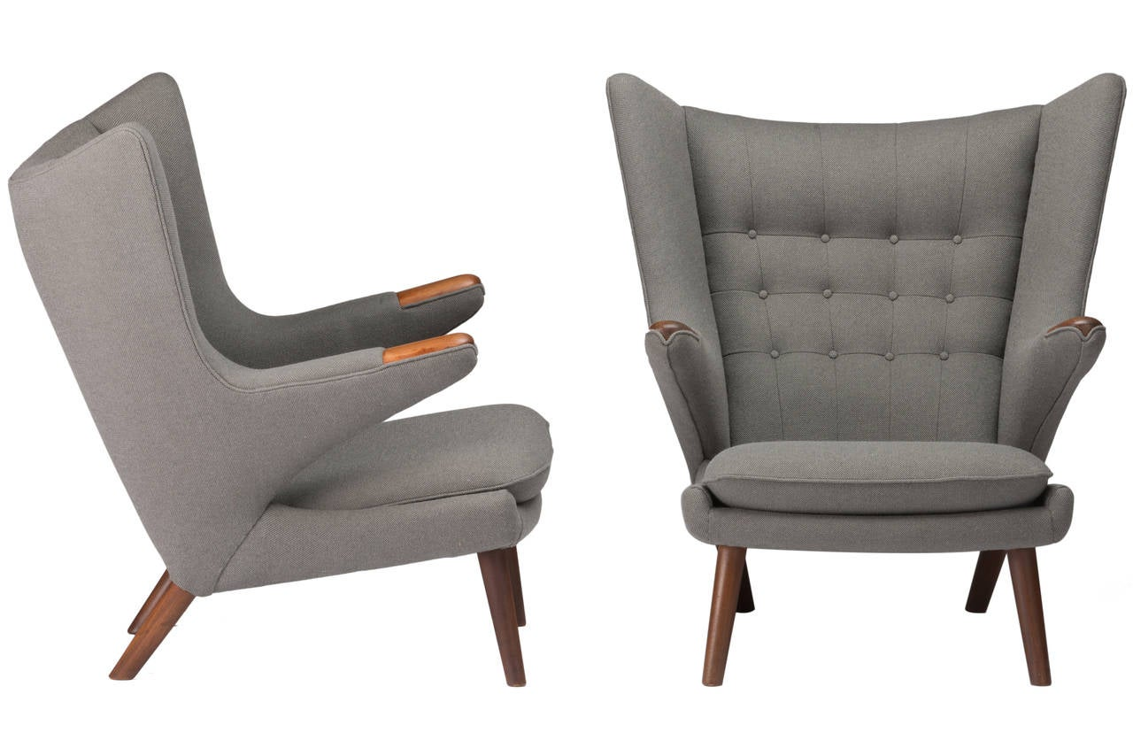Pair of Hans Wegner Papa Bear Chairs with Ottomans at 1stdibs