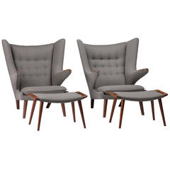 Pair of Hans Wegner Papa Bear Chairs with Ottomans