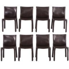 8  Dark Brown Mario Bellini CAB Chairs For Cassina