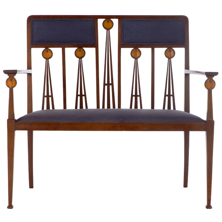 Art Nouveau Marquetry Inlaid Settee By Liberty And Co At 1stdibs