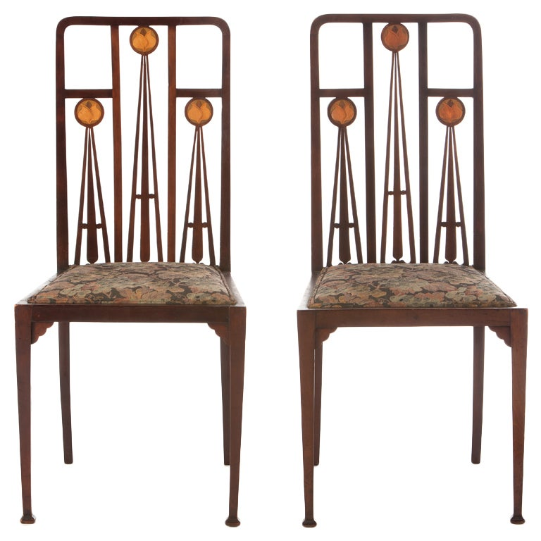Art nouveau marquetry inlaid chairs by liberty and co at for Artistic chairs
