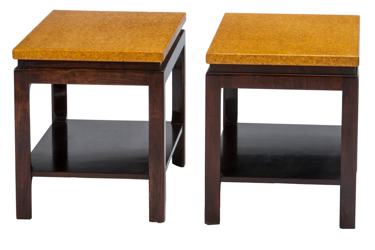 American Paul Frankl Cork Top End Tables For Sale