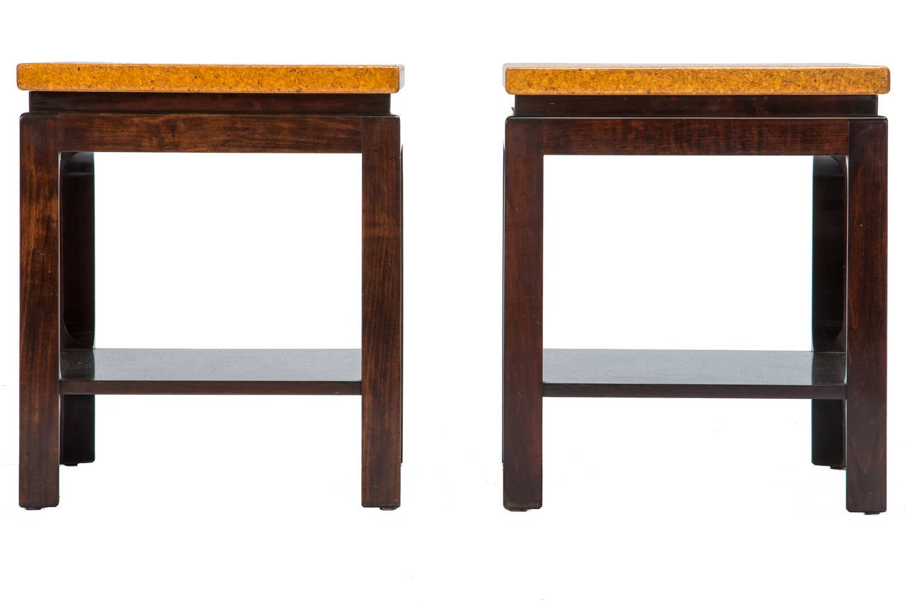 Pair of Frankl side tables with cork tops manufactured by Johnson Furniture. Restored condition.