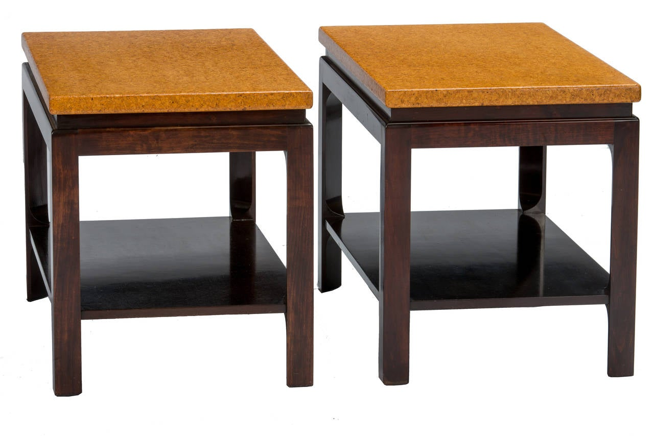 Mid-Century Modern Paul Frankl Cork Top End Tables For Sale