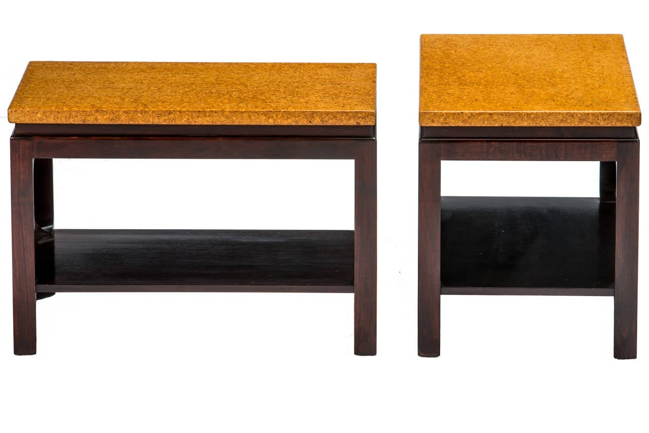 Paul Frankl Cork Top End Tables In Excellent Condition For Sale In Pawtucket, RI