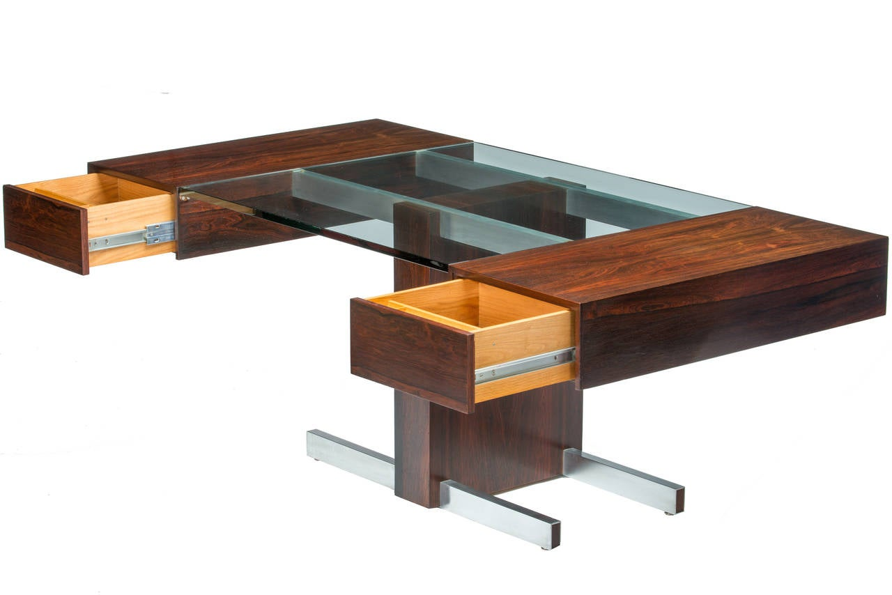 Rosewood and Glass Desk by Vladimir Kagan 3