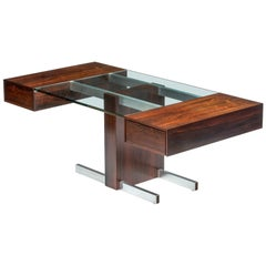 Rosewood and Glass Desk by Vladimir Kagan
