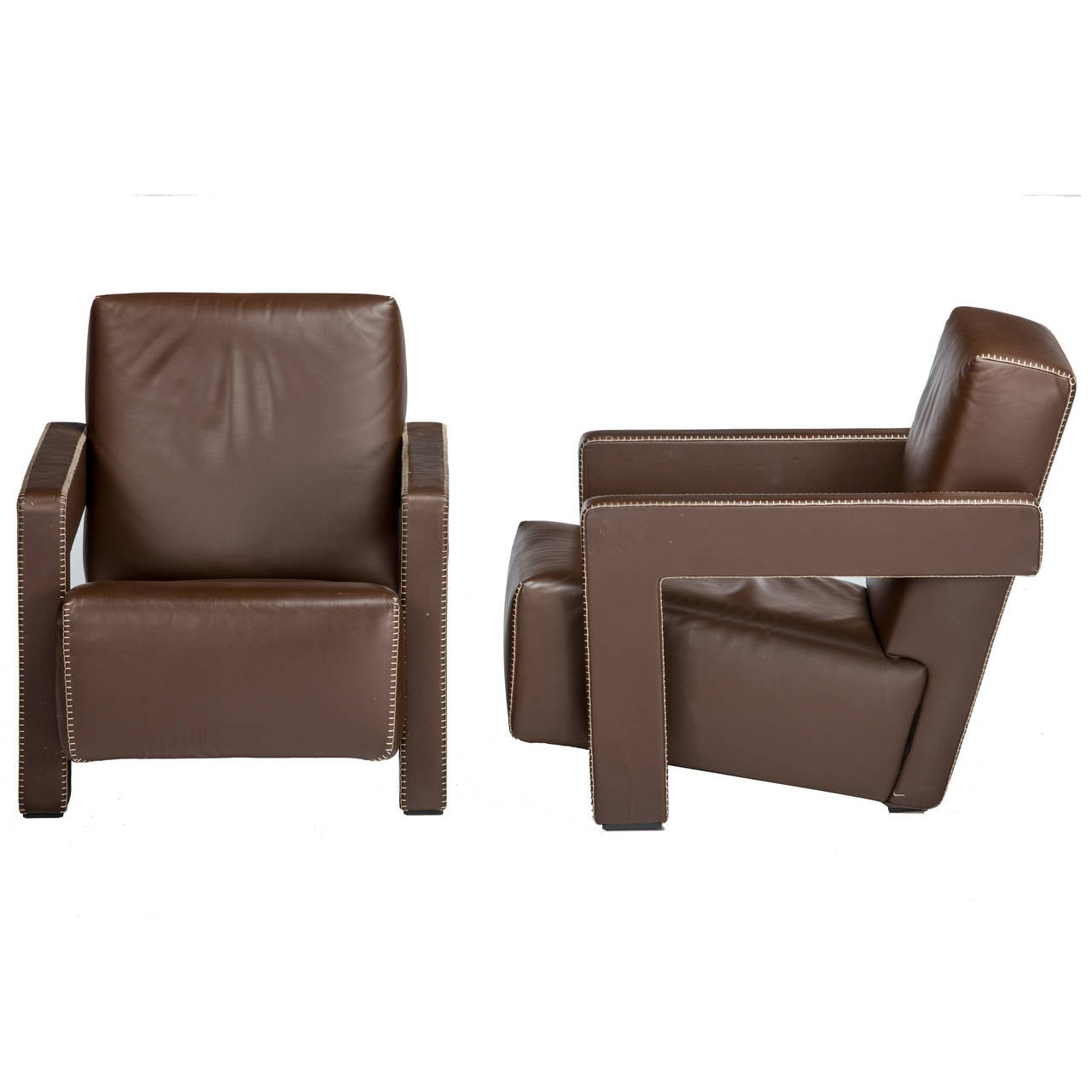 """Pair of Brown Leather Gerrit Rietveld """"Utrecht"""" Chairs"""
