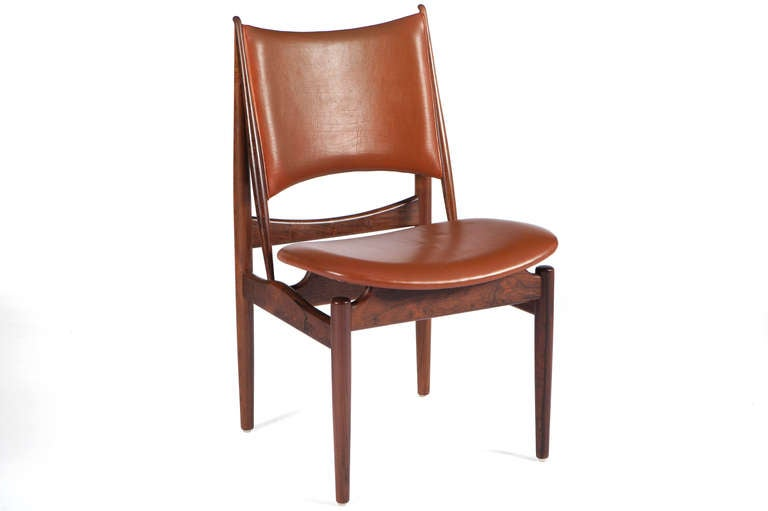 Extremely Rare And Beautiful Matched Set Of Rosewood Egyptian Chairs  Designed By Finn Juhl And Manufactured