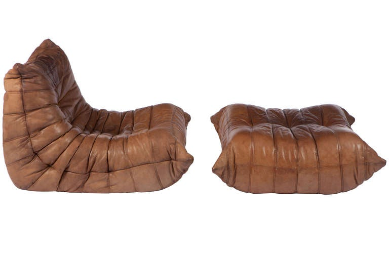 Togo Leather Chair And Ottoman Michel Ducaroy for Ligne Roset at ...