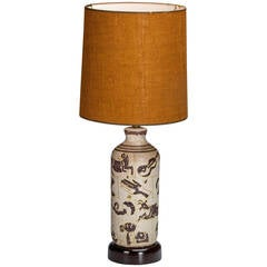 Guido Gambone Signed Ceramic Table Lamp, circa 1950, Italy