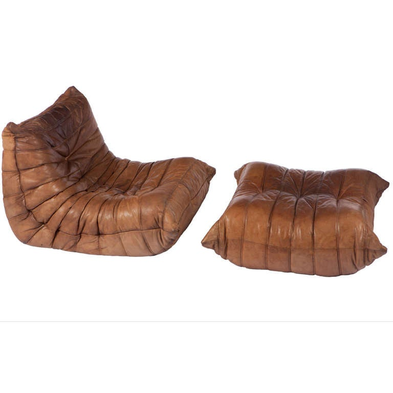 togo leather chair and ottoman michel ducaroy for ligne roset. Black Bedroom Furniture Sets. Home Design Ideas