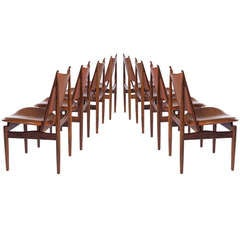 8 Rosewood And Original Leather Egyptian Chairs By Finn Juhl