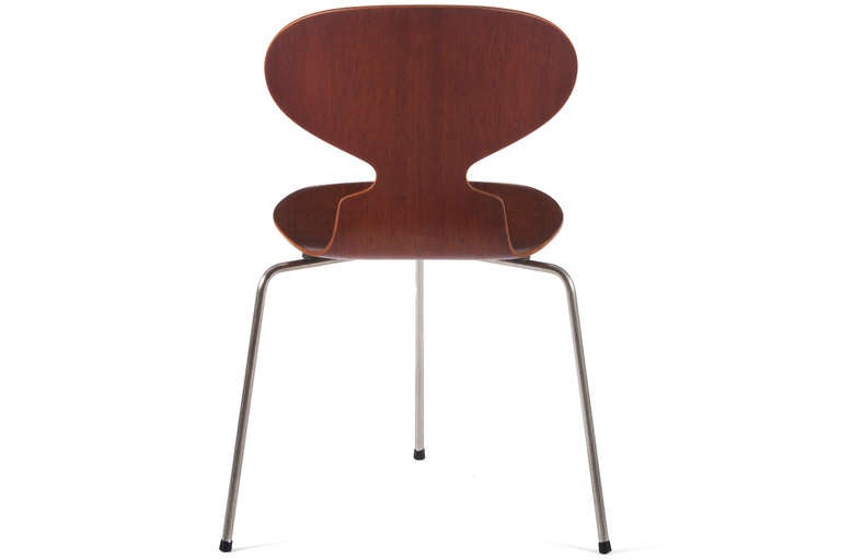 Danish Six Early Arne Jacobsen Three-Legged Ant Chairs For Sale