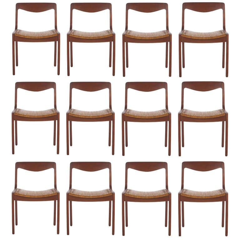 12 Danish Chairs Designed By Vilhelm Wohlert For Sale