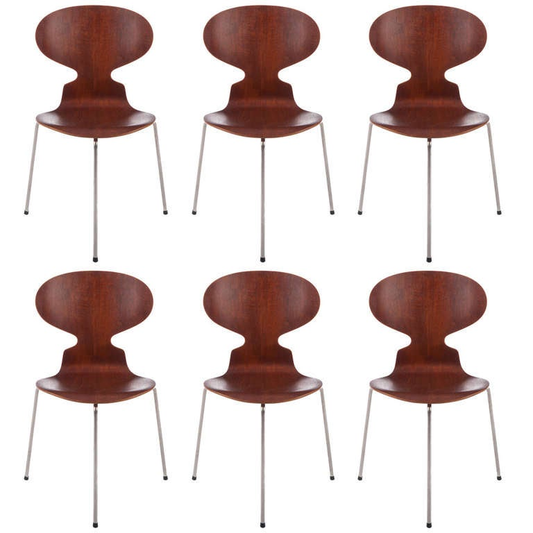 Six Early Arne Jacobsen Three-Legged Ant Chairs For Sale