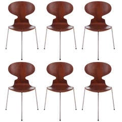Six Early Arne Jacobsen Three-Legged Ant Chairs