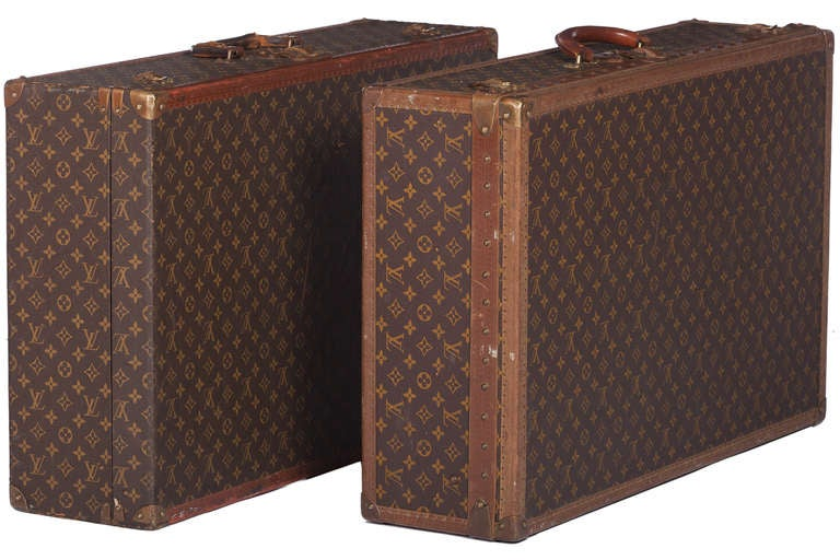 Pair Of Louis Vuitton Vintage Hard Sided Suitcases 2