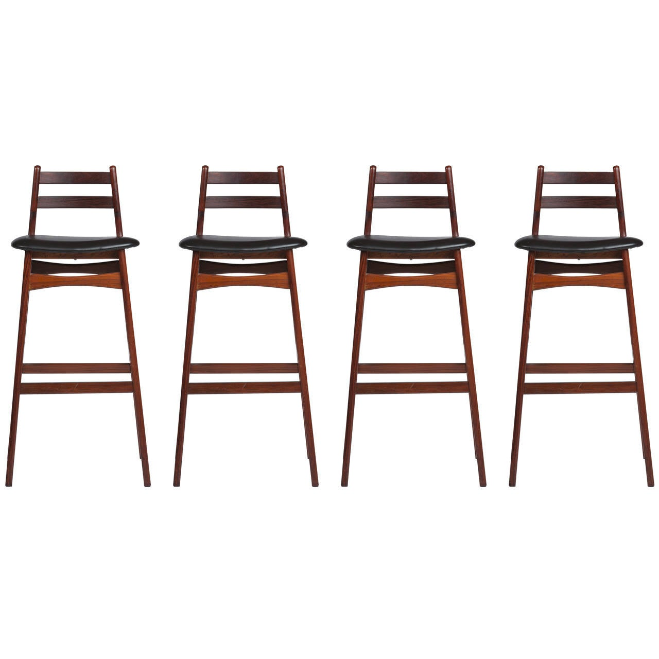 Four Rosewood And Leather Bar Stools At 1stdibs