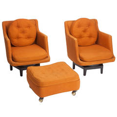 Pair of Edward Wormley Swivel Lounges and Ottoman for Dunbar