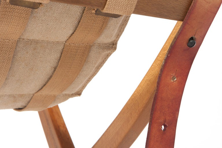 Poul Hundevad Folding Chair And Ottoman At 1stdibs
