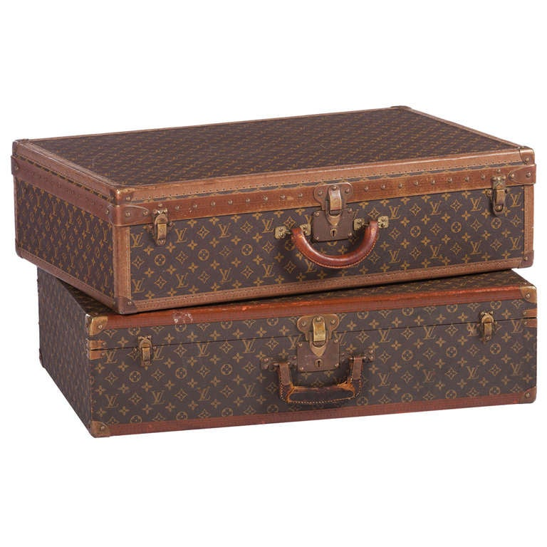 Pair Of Louis Vuitton Vintage Hard Sided Suitcases 1