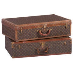 Pair Of Louis Vuitton Vintage Hard Sided Suitcases