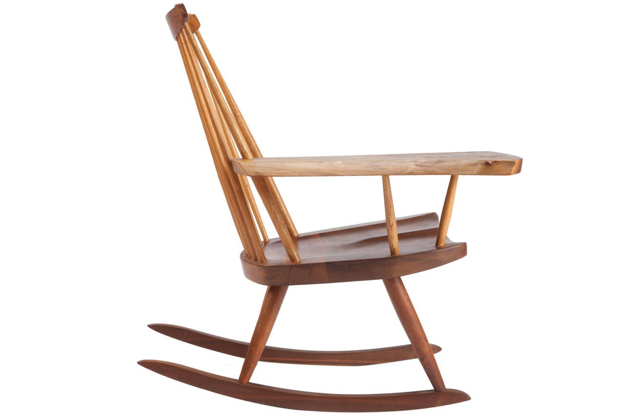 Wonderful image of Rocking Chair with Free Edge Arm by George Nakashima at 1stdibs with #945E37 color and 1280x853 pixels