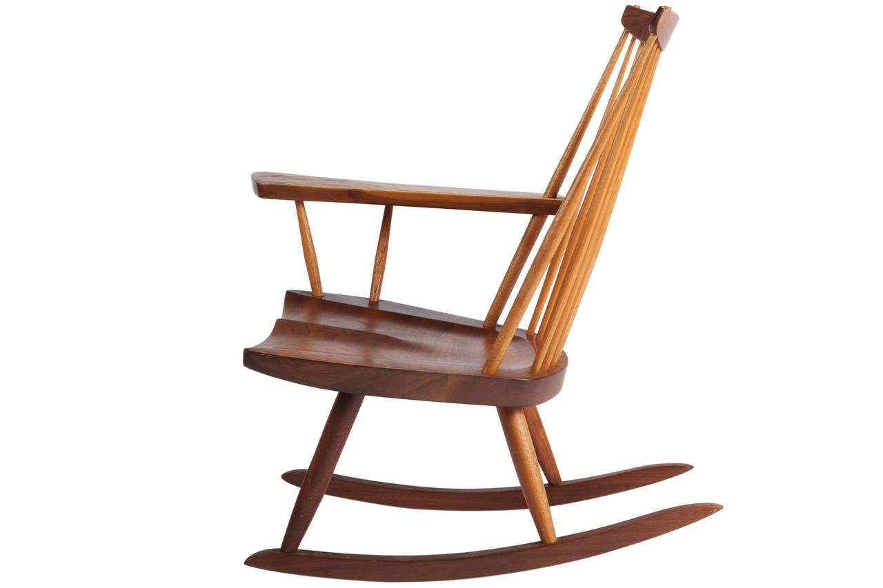 Wonderful image of Rocking Chair with Free Edge Arm by George Nakashima at 1stdibs with #AE5216 color and 1280x853 pixels