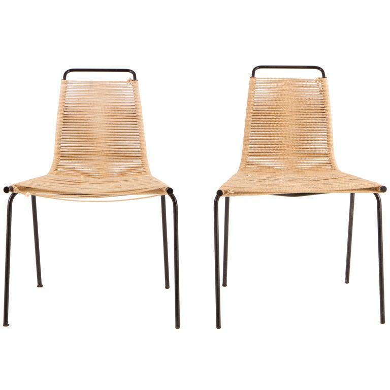 Pair of Poul Kjaerholm pk 1's Chairs, E. Kold Christensen