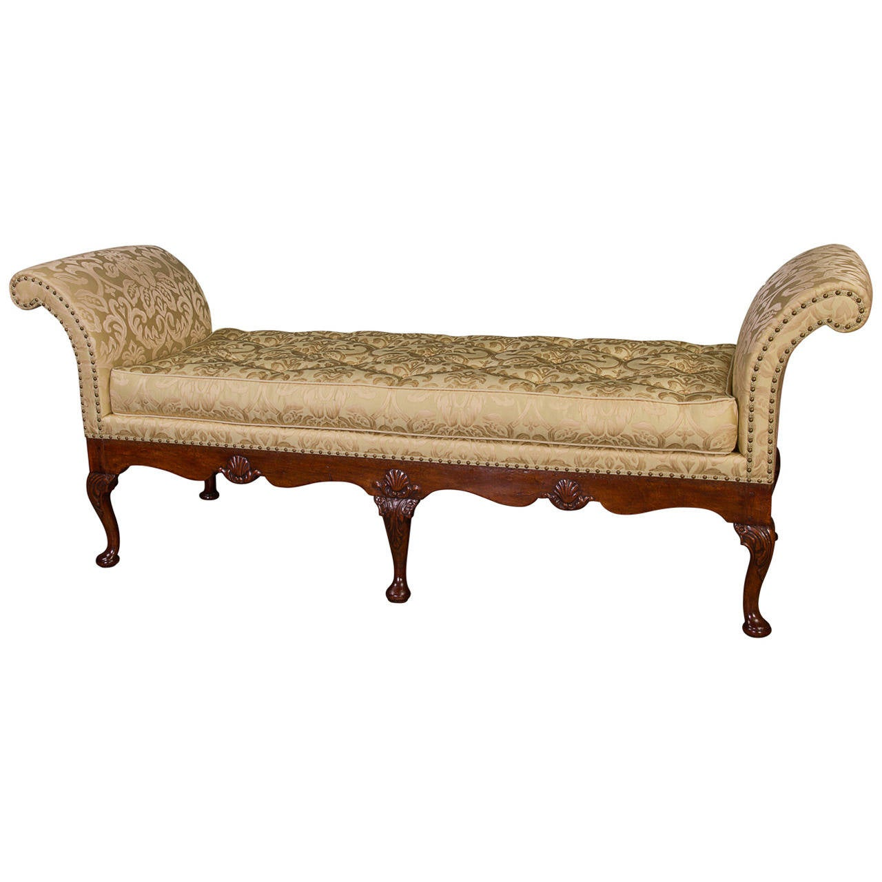 Rare George II Walnut and Shell Carved Daybed