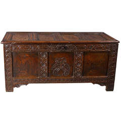 Good Charles I Oak Marriage Chest