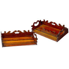 Fine and Rare Pair of Specimen Wood Book Trays Attributed to Gillows